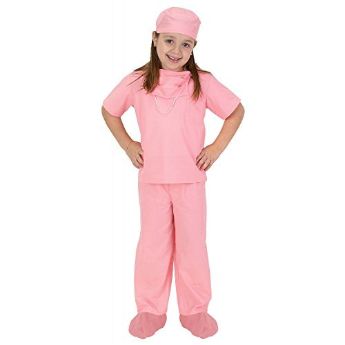 Jr. Dr. Scrubs Costume - Medium - Girls Pink Jr Doctor Costumes
