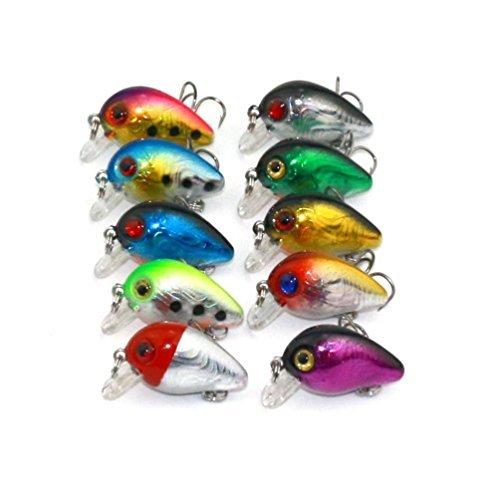 Fishing Lures, Milazer 10 Pc Bronzing Mini Micro Fishing Lures Bass Bait Treble Hook