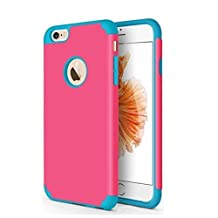 CaseHQ iPhone 6S plus Case,iPhone 6 plus Case,slim Dual Layer Silicone Rubber PC Protective Case Fit for iPhone 6 (2014) / 6S 5.5 inch (2015) Hybrid Hard Back Cover and Soft Silicone-red blue