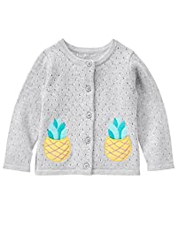 Gymboree Baby Toddler Girls\' Button up with Pineapple Pockets, Light Gray Heather, 3T