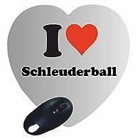 EXKLUSIV bei uns: Herz Mousepad I Love Schleuderball in Weiß, eine tolle...