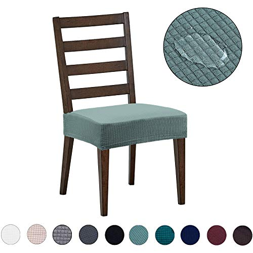 Dining Chair Covers(4 Pack) - Water Repellent,Easy to Install,High Stretch - Dining Room Chair Seat Slipcover/Protector/Shield for Dog Cat Pets,Sage (Dining Chairs Cover)