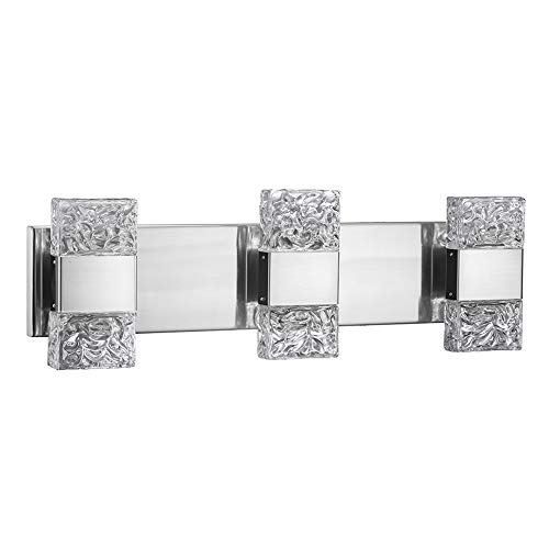 (JINZO LED Bathroom Vanity Light Fixture 3-Lights Brush Nickel Modern Wall Lighting Fixture Up and Down Lights with Clear Ice Inspired Molded Hand-Crafted Glass Shape)
