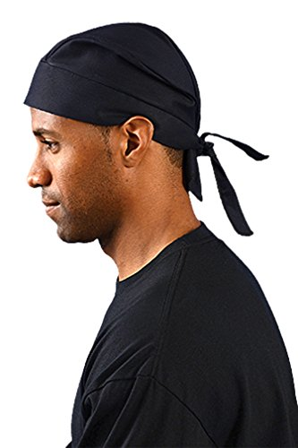 24PCK-Deluxe Tie Hat W/ Elastic - BLACK-One-Size by Occunomix