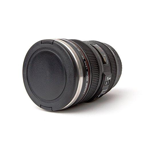 Coffee Mug - Camera Lens Coffee Mug -13.5oz, SUPER BUNDLE! (2 LIDS + SPOON) Stainless Steel, Travel Coffee Mug, Sealed & Retractable Lids! Camera Mug, Travel Coffee Cup, Coffee Mugs for Men, Women