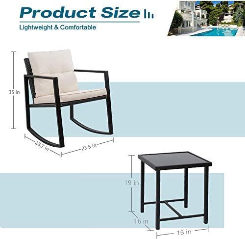 41ktrc0IaFL. AC Greesum GS-3RRCSBG 3 Pieces Patio Furniture Set, Glass Coffee Table, Beige    Greesum 3 Pieces Rocking Patio Furniture Sets