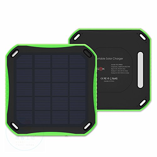 Solar Charger, ELEGEEK 5600mA Polymer Solar Power Bank Portable Battery Pack with Dual USB Output and 8 LED Flashlight for IOS Android Cell Phone iPad Tablet PC Headphone GoPro and More (Green)