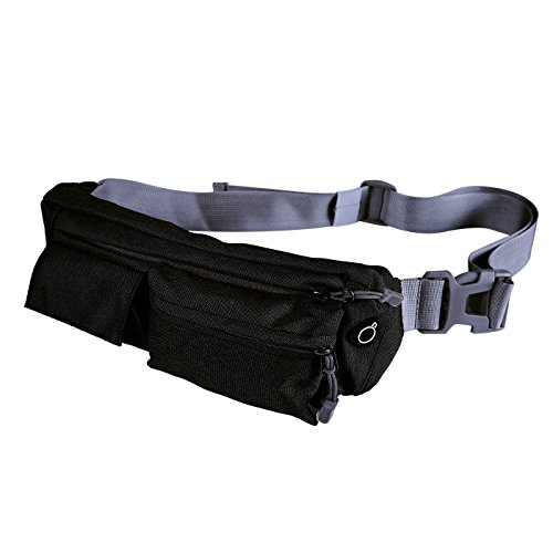 Waist Bag Polyester Closure Belt Black for Men Women - 5