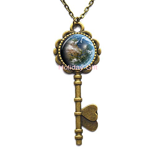 Earth Key Pendant - Earth Jewelry - Earth Key Necklace - Earth from Space - Ecology Jewelry - Environmental Key Necklace - Save The Earth Turquoise Blue,H162 ()