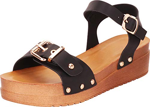 Cambridge Select Women's Retro 70s Studded Buckle Chunky Flatform Sandal (10 B(M) US, Black PU)