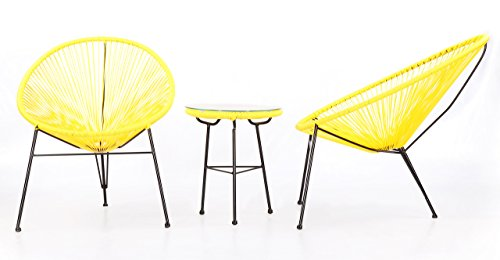 Kardiel 3 Piece Outdoor Acapulco Chairs & Table (Furniture Acapulco)