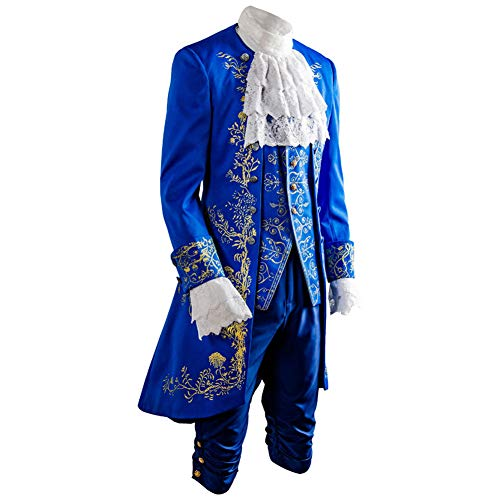 SIDNOR Beauty and The Beast Prince Dan Stevens Blue Uniform Cosplay Costume Outfit -