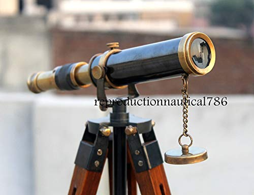Vintage Spy Glass Working Telescope Collectible Desk Antique Telescope W/ Stand by Antique House