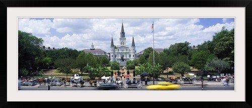 greatBIGcanvas St Louis Cathedral Jackson Square French Quarter New Orleans LA Photographic Print with Black Frame, 48