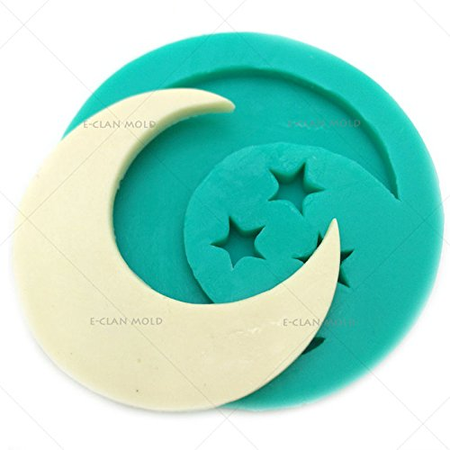 Bakeware Moon and Stars Mold for Cake Decorating Fondant Chocolate Form F0625YL35 (Chocolate Molds Moons And Stars)