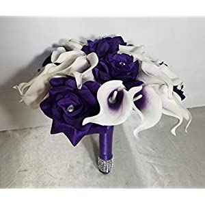 Purple White Calla Lily Rose Bridal Wedding Bouquet & Boutonniere 51