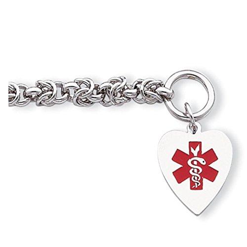 925 Sterling Silver Polished 6mm Engraveable Enameled Heart Medical ID Toggle Bracelet 7.75