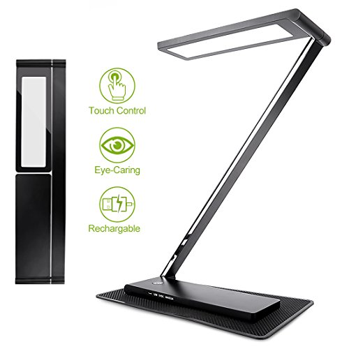 Dimmable LED Desk Lamp, StarryBay Rechargable Folding Desk Lamp Office Table Lamp Study Light with USB Charging Port, Aluminum Alloy, Eye-Care, Touch Control, Stepless Brightness Levels, 10W, Black
