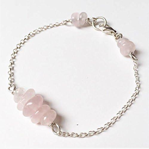 Pulsera de cuarzo rosa – Pulsera de plata de ley con cuentas de cuarzo rosa – pulsera de plata rosa con piedras preciosas – cadena semipreciosa apilable 4 – 7 mm