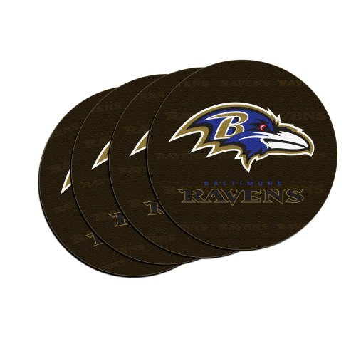 NFL Football Team Logo Neoprene Car Coasters (4) | Car Cup Holder Coasters - Set of 4 (Ravens)