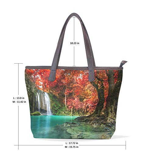 Women's National Waterfall Handbags Park Forest Handbags Women's PU Tote Leather SqvgnwO