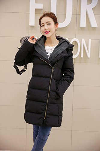 Cosplayjoy Women Winter Warm Thick Mid-Long Coat Overcoat Hooded Down Jacket Outwear Plus Size (Black, 6XL) by Cosplayjoy (Image #1)
