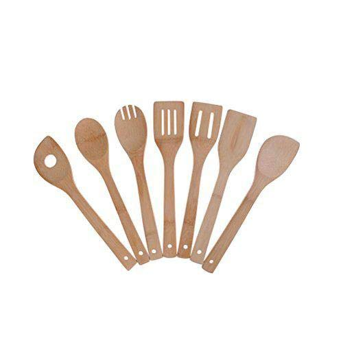 Bamboo Cooking Utensils Set, Buytra 7 Pack Kitchen Tools Wooden Spoons and Spatula 11.8 Inch, Best for Non Sticky Pans and Cookware