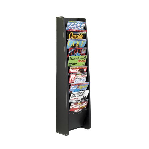 Safco Products 5576BL Leather Look Magazine Rack, 10 Pocket, Black by Safco Products