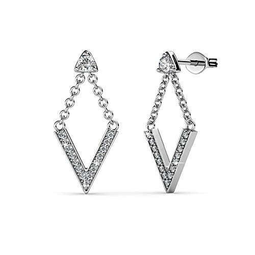 (Cate & Chloe Francesca Incredible White Gold Drop Earrings, 18k Gold Plated V Shape with Swarovski Crystals, Stud Earring Set with Dangling V, Dangle Earrings w/Swarovski Crystal )