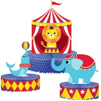 Club Pack Circus Party 3pc Honecomb Centerpiece Set, Box of 6 Sets