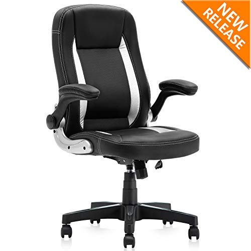 YAMASORO High-Back Executive Office Chair Leather, Adjustable Ergonomic Swivel Computer Desk Chair with Flip-up Armrest,Back Support for Working, Studying