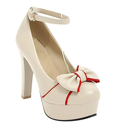 Mee Shoes Damen High Heels mit Schleifen Schnalle Pumps