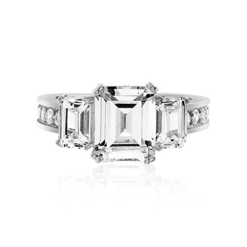 Devin Rose Three Stone Emerald Cut Cubic Zirconia Anniversary/Engagement Ring for Women in Rhodium Plated Sterling Silver (Round - Cut Diamond Emerald Ring Rose