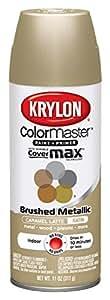 Krylon K05125000 ColorMaster Paint & Primer Brushed Metallic Spray Paint, Caramel Latte, 11 Ounce
