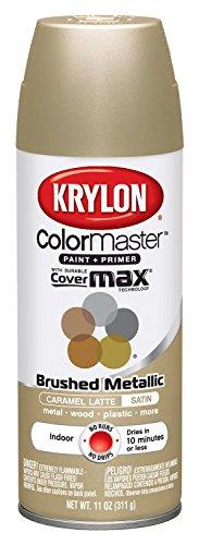 - Krylon K05125007 ColorMaster Paint + Primer, Brushed Metallic, Satin, Caramel Latte, 11 oz.