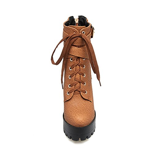 Kaloosh Toe Martens Ankle Fashion Women's up Lace Brown Classic Boots Boots Strap Round Buckle Platform qSfwqFr