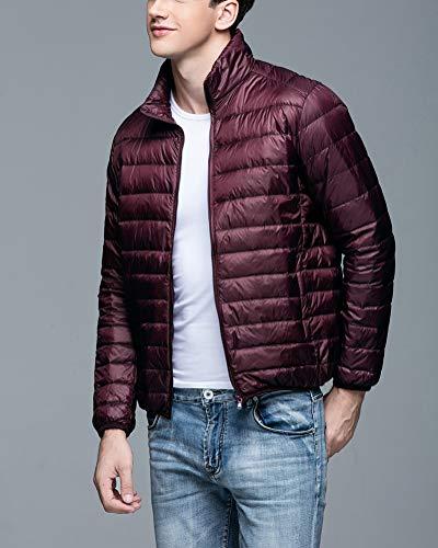 Collar Packable Down Down Lightweight Jacket Short Wine Suncaya Jacket Red Warm Stand Outwear Men's xwp4HE0