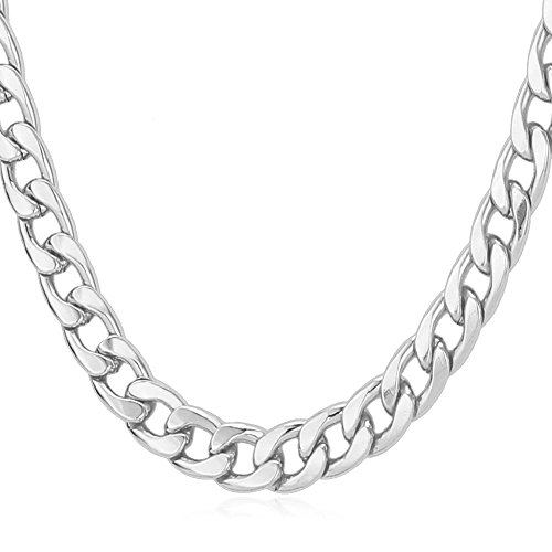 U7 Men Big Chain Punk Hip Hop Jewelry Platinum Plated Necklace 7MM Classic Cuban Curb Chain - 24 Inch