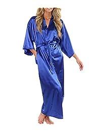 Habitaen Women Silk Satin Long Robe Kimono Robe Bath Large Size Sexy Bathrobe