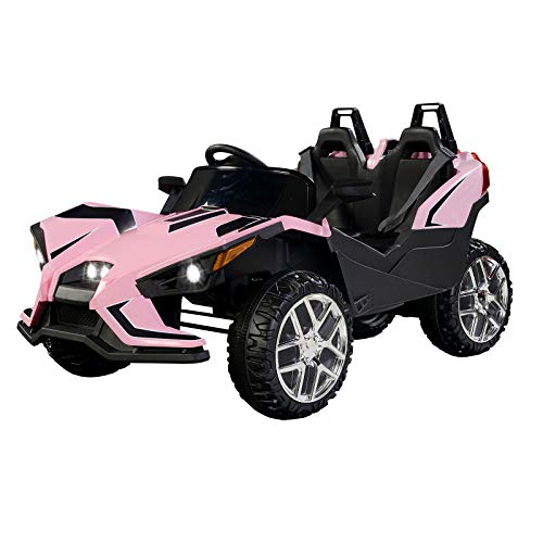 Uenjoy 2 Seats Kids Car 12V Ride On Racer Cars w/Remote Control,Spring Suspension Wheels,4 Speeds,LED Lights,Music,Pink
