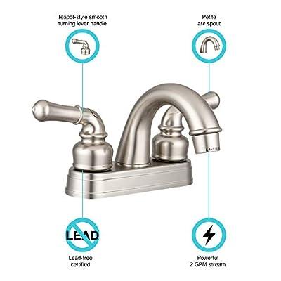 Dura Faucet DF-PL620C-SN RV Classical Two Handle Arc Spout Bathroom Faucet (Brushed Satin Nickel): Automotive