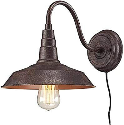 promo code f4a63 3213b Kiven Rust Gooseneck Plug-in Wall Sconces Barn Warehouse ...