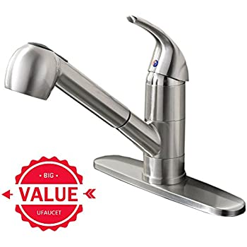 Ufaucet Commercial Stainless Steel Single Lever Single Handle Pull Out Sprayer Prep Kitchen Sink Faucets, Brushed Nickel Finished