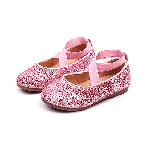 Dolwins Kids Girls Mary Jane Ballet Shoes Princess Girls Sandals Toddler Party Shoes(Pink-EU 33/1.5 M US Little Kid)