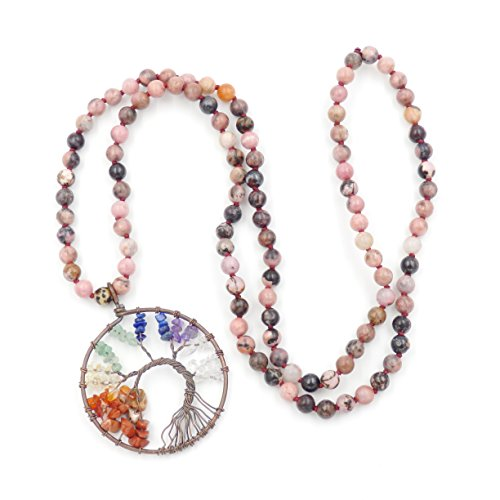 Malahill Tree of Life Necklace, Hand Knotted Gemstone Necklace, The Best Birth Day Gift (Rhodonite) ()