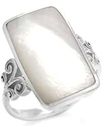 Mother Of Pearl Inlay White Gold Plated 925 Sterling Silver Swirl & Spiral Ring