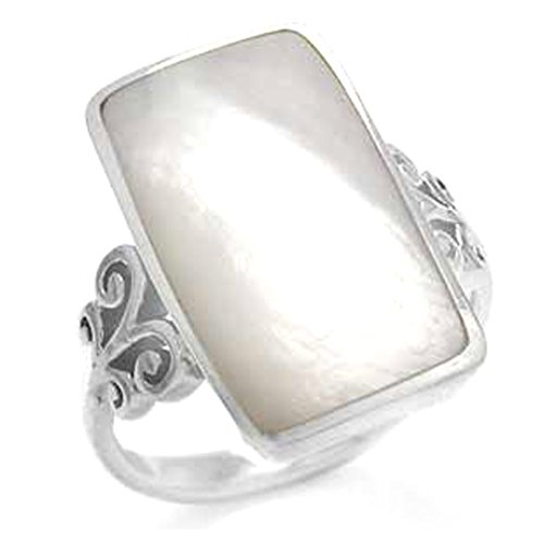 - Mother of Pearl Inlay White Gold Plated 925 Sterling Silver Swirl & Spiral Ring Size 8