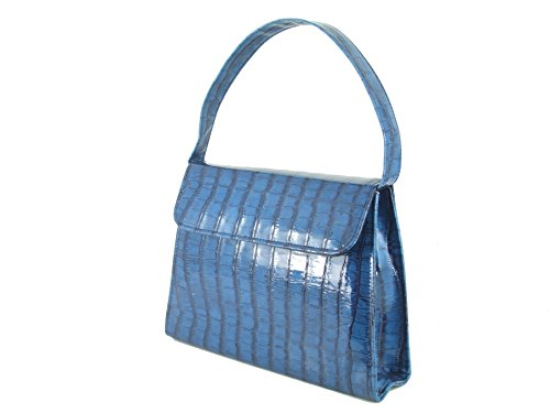 in Patent Shoulder LONI Clutch Handbag Trophy Crocodile Patent Strap with Teal Blue wrr0YI