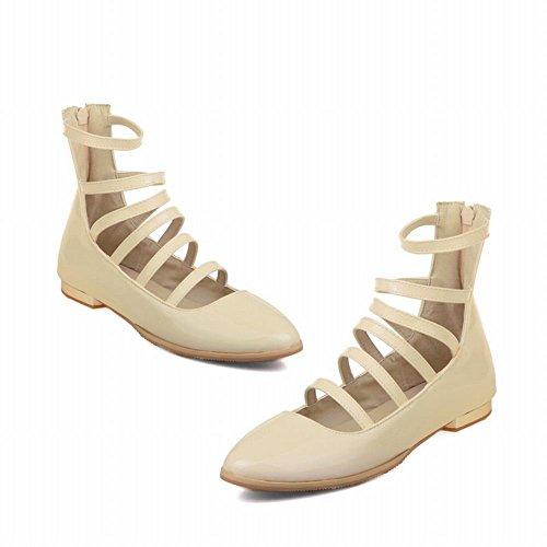 Latasa Mujeres Strappy Tobillo High Flats Zapatos Con Cremallera Beige
