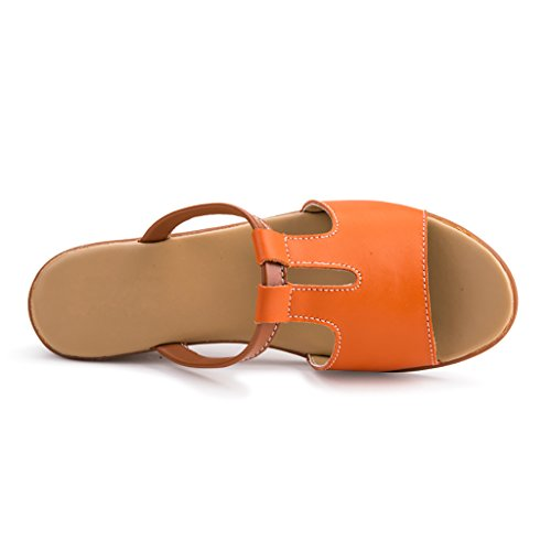 PENGFEI Chanclas de playa para mujer Zapatillas de playa verano Slip antideslizante Zapatillas de mujer Zapatillas de surf Cómodo y transpirable ( Color : Amarillo , Tamaño : EU40/UK6.5/L:250mm ) Naranja
